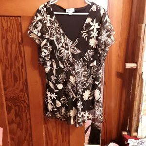 Black and tan crepe chiffon sequined top